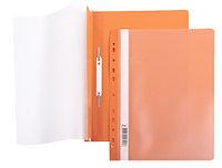 Папка-скоросшиватель пластик. верх прозр Хатбер с перфорацией оранжевая