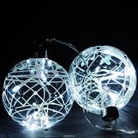 Светящийся ёлочный шар в ассортименте,стекло, 10 см, LED-огонь, батарейки