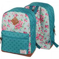 Рюкзак deVENTE 40x30x14 см, цветы на светло-зелёном