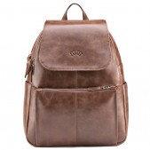 Рюкзак-сумка DJ женская, экокожа лак/замша коричневая
