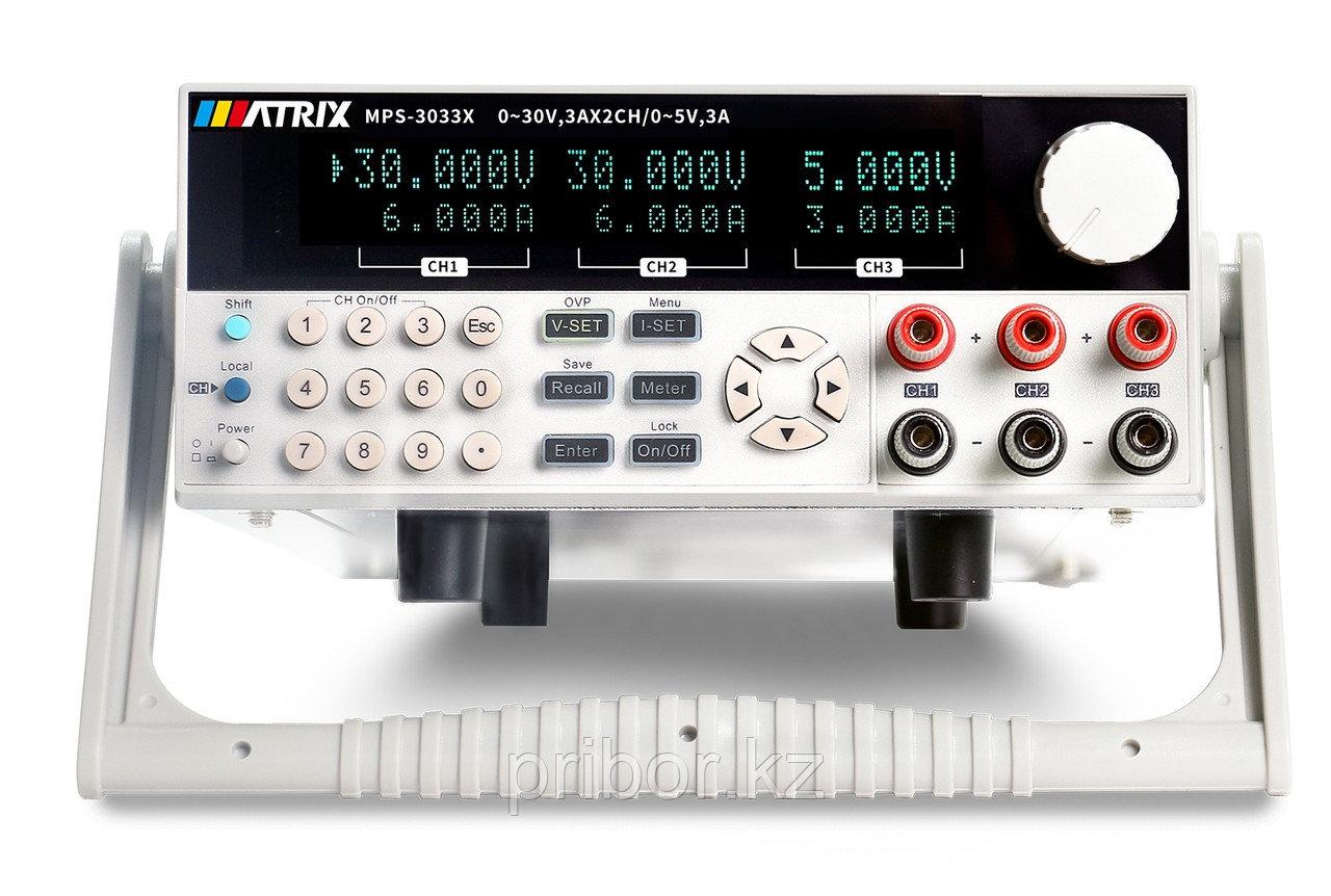 Программируемый 3-х канальный линейный источник постоянного тока (30 В, 3 А) MATRIX MPS-3033X