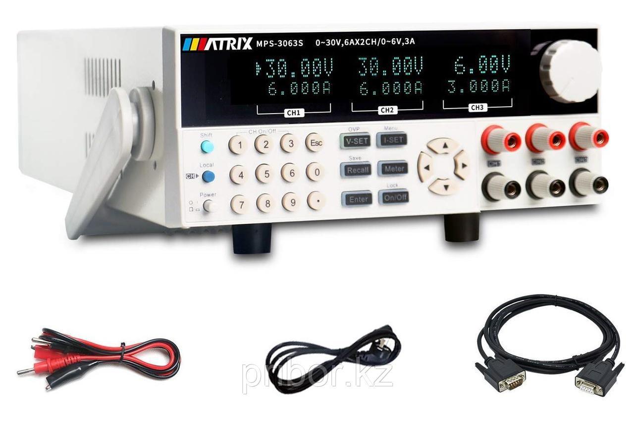 MATRIX MPS-3063S Программируемый 3-х канальный линейный источник постоянного тока (30 В, 6 А)
