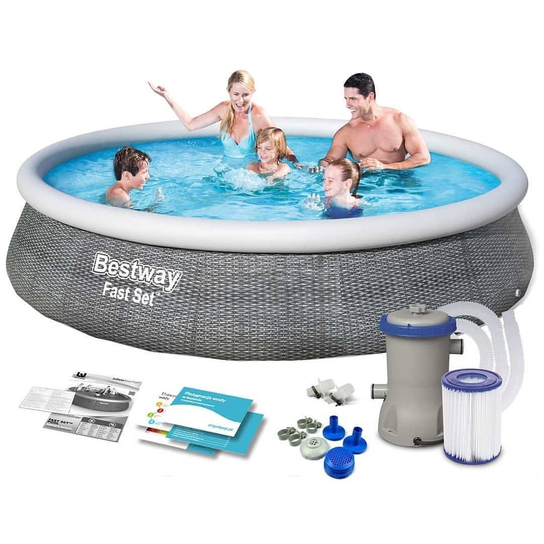 Семейный надувной бассейн Fast Set 396 х 84 см, BESTWAY