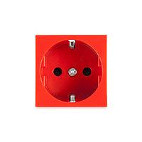 Розетка электрическая Рувинил типа Shuko 45x45 мм красная 70102