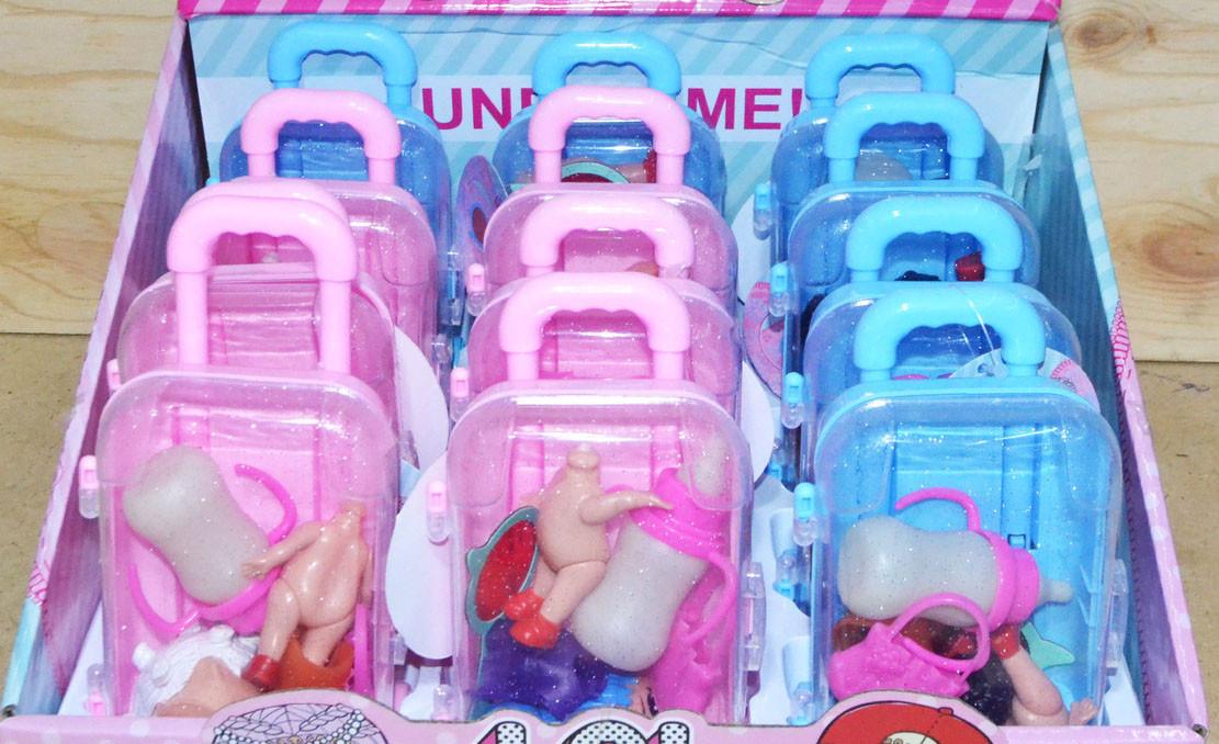 BT819 Маленькая кукла с бутылочкой в чемодане 4 вида 12шт, цена за 1шт 15*8см