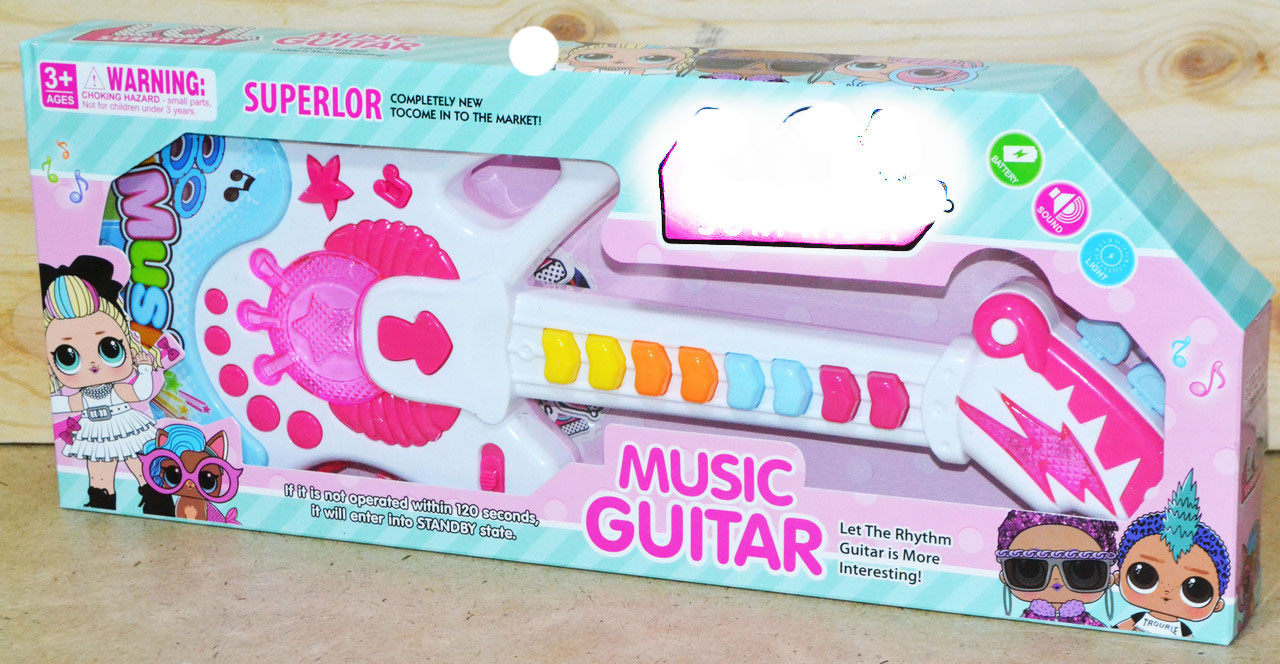 662-1 Гитара Musik Guitar  муз/свет на батарейках 38*15