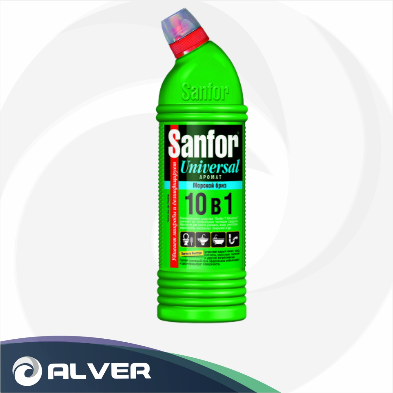 Чистящее средство для сантехники Sanfor Universal Лимонная свежесть гель 750мл (зеленый)