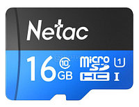 Карта памяти MicroSD 16GB Class 10 U1 Netac P500STN с адаптером SD