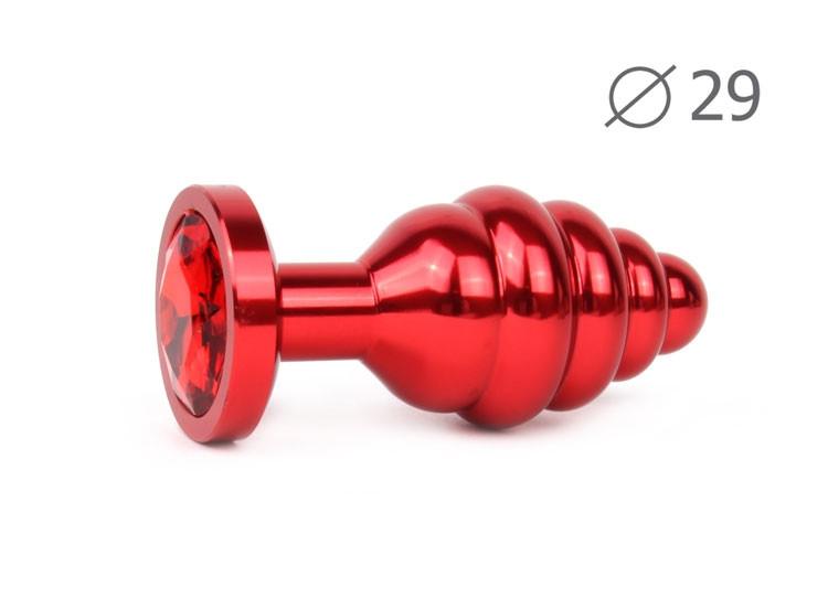 Витая анальная пробка, L 7.1 см D 2.9 см, вес 60 грамм, цвет пробки - красный, цвет камня - на выбор