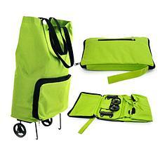 Уценка (товар с небольшим дефектом) Складная сумка для покупок на колесиках зеленая, фото 3