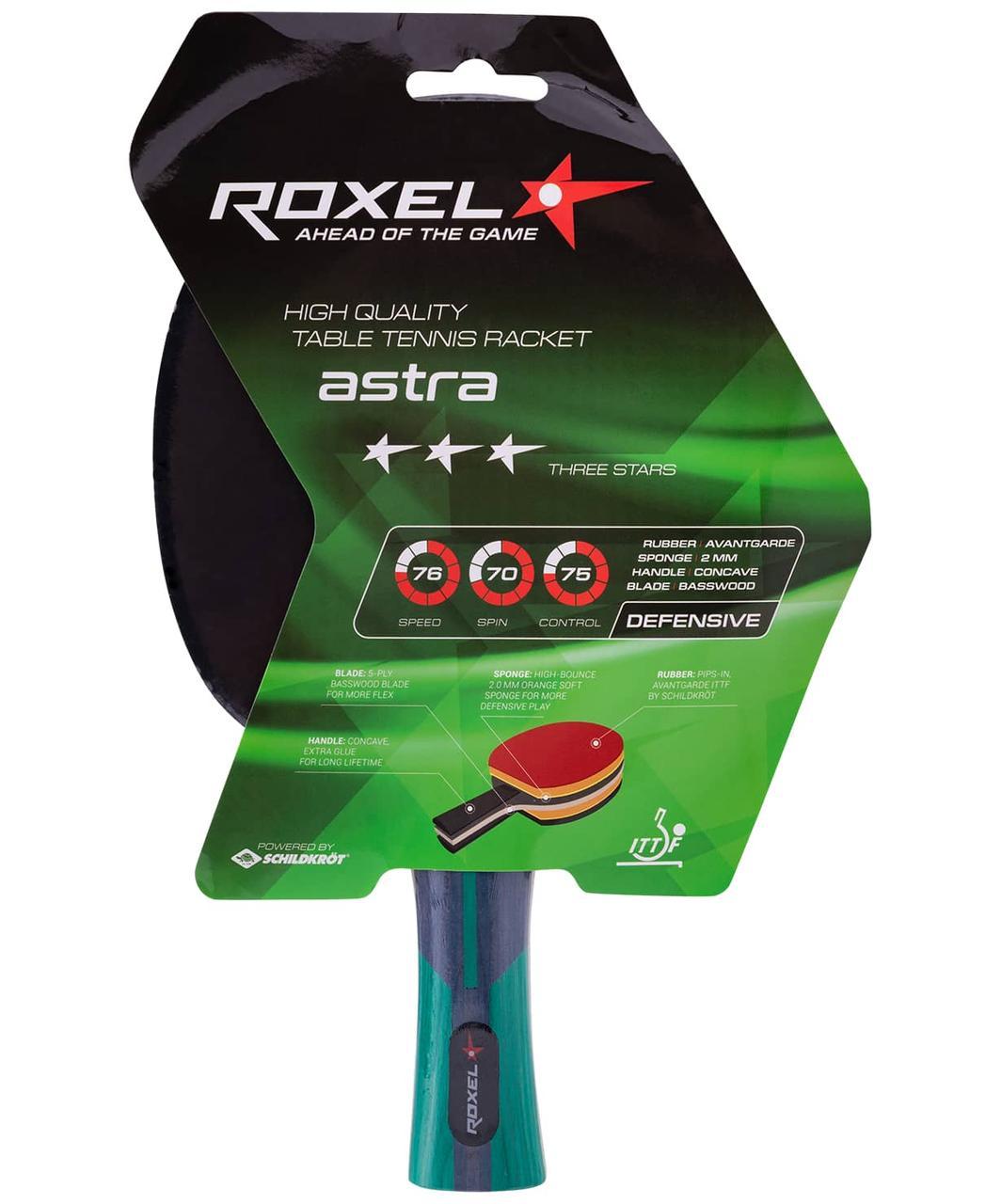 Ракетка для настольного тенниса 3* Astra, коническая Roxel