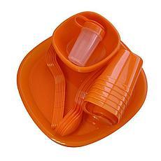 Уценка (товар с небольшим дефектом) Набор пластиковой посуды для пикника 48 предметов, фото 3
