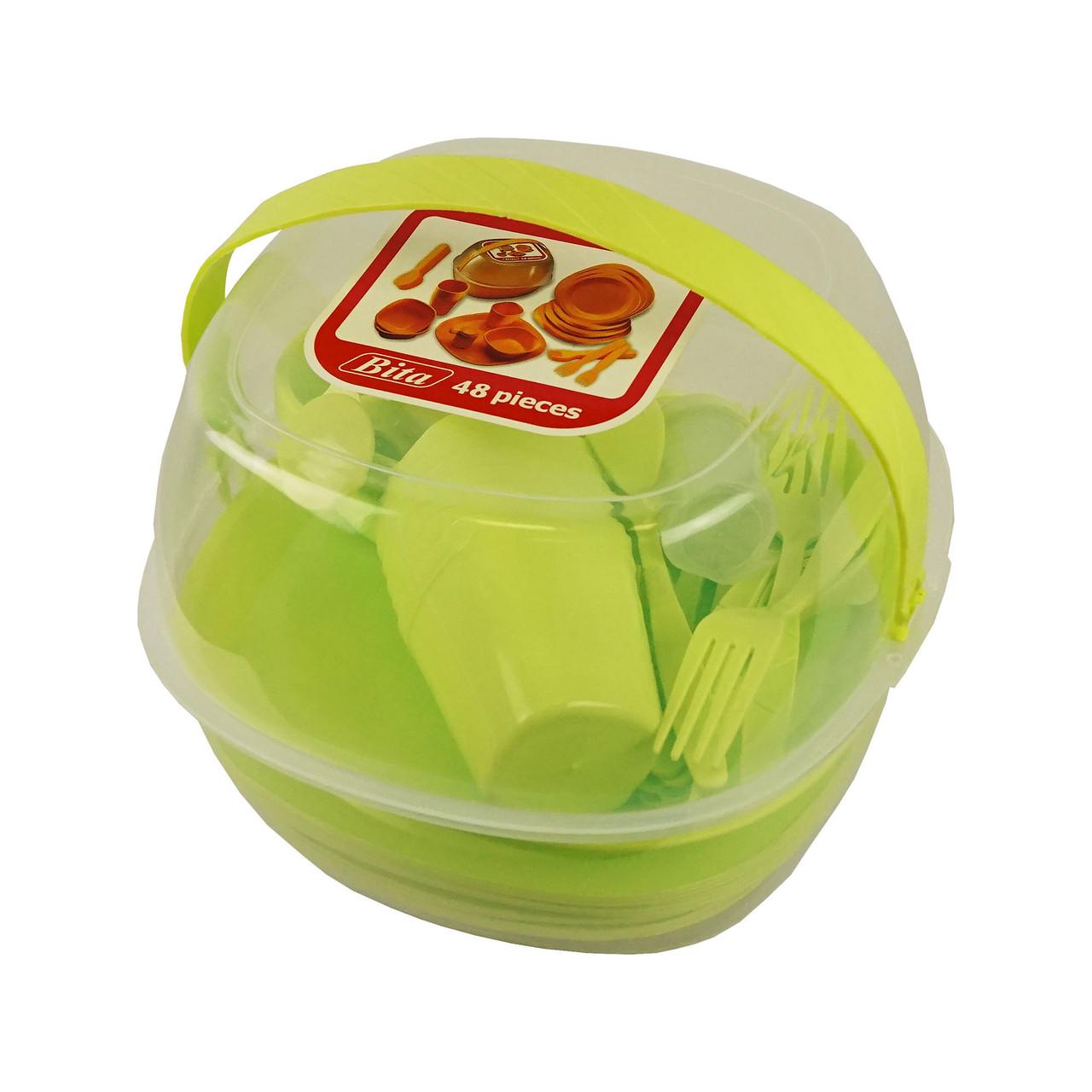 Уценка (товар с небольшим дефектом) Набор пластиковой посуды для пикника 48 предметов