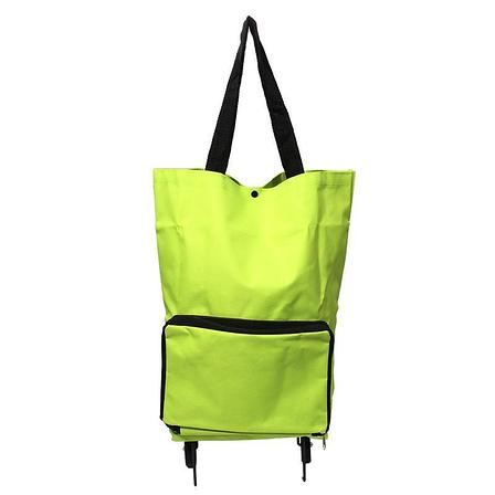 Уценка (товар с небольшим дефектом) Складная сумка для покупок на колесиках зеленая, фото 2