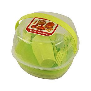 Уценка (товар с небольшим дефектом) Набор пластиковой посуды для пикника 48 предметов, фото 2