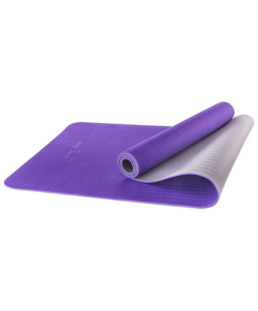 Коврик для йоги FM-201, TPE, 173x61x0,5 см, фиолетовый/серый Starfit