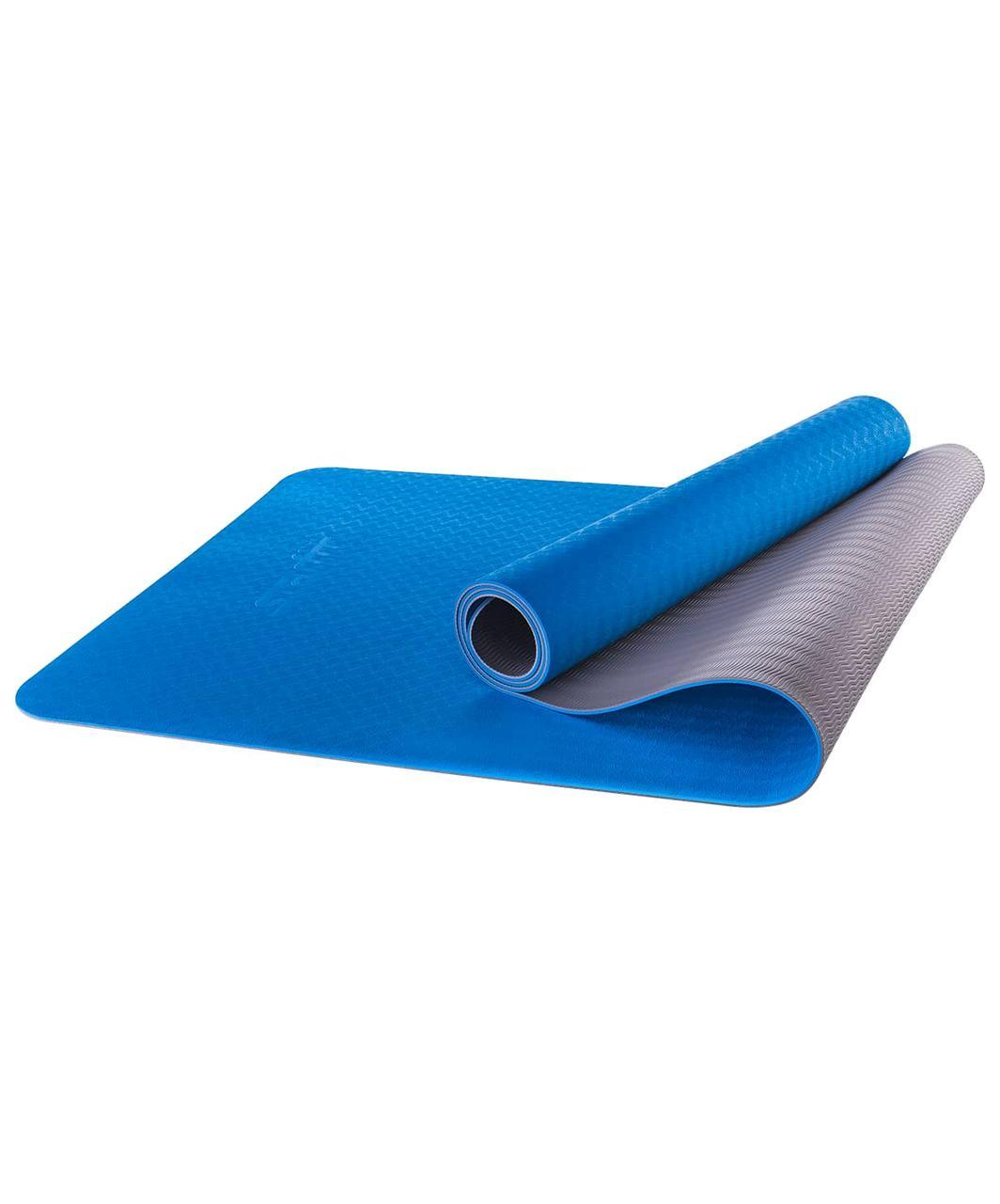 Коврик для йоги FM-201, TPE, 173x61x0,4 см, синий/серый Starfit