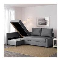 Угловой диван-кровать 3х местный FRIHETEN темно-серый, фото 4