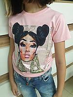 Розовая футболка в стиле FENDI для девочек