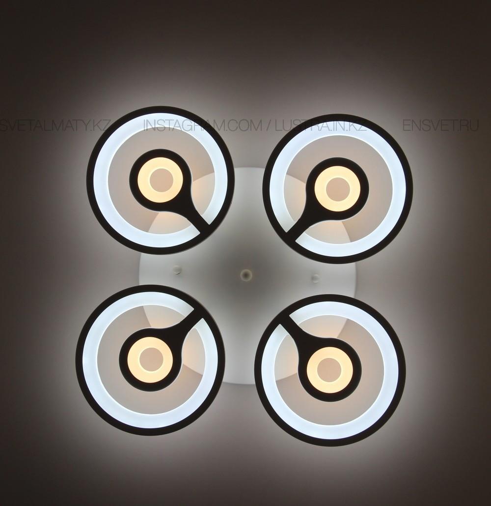 Современная LED люстра с пультом 3 режима на 4 лампы