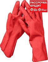 ЗУБР M, перчатки латексные хозяйственно-бытовые, повышенной прочности с х/б напылением, рифлёные ЛАТЕКС+