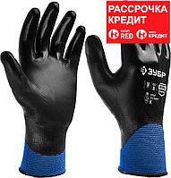 ЗУБР M, с полным обливом, перчатки маслобензостойкие тонкие ПНО-13 11279-M