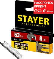 STAYER скобы тип 53 (A / 10 / JT21), 6 мм, 1000 шт., закаленные, особотвердые, скобы для степлера тонкие