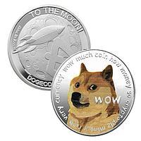Сувенирная монета Dogecoin Doge, серебристый, толщина 3 мм