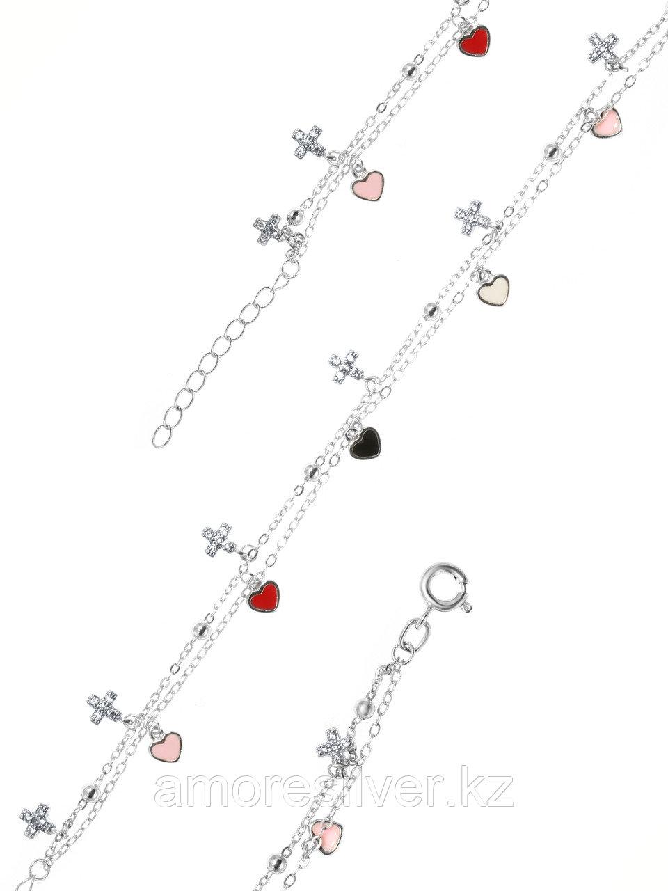 Браслет Адамант серебро с родием, фианит эмаль Ср925Р-8К3703016
