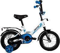 """Велосипед NOVATRACK 12"""" FOREST белый, сталь, тормоз нож, крылья, багажник, полная защ.цепи"""