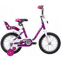"""Велосипед NOVATRACK 14"""" MAPLE, сиреневый, полная защита цепи, тормоз нож, крылья цвет, сидение для к"""