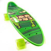 Скейт Penny Board {Пенни Борд} с подсветкой колёс на алюминиевой платформе (Зеленый / С принтом)