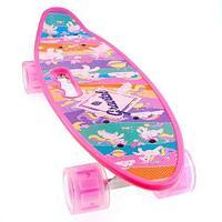Скейт Penny Board {Пенни Борд} с подсветкой колёс на алюминиевой платформе (Розовый / С принтом)