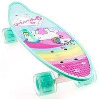 Скейт Penny Board {Пенни Борд} с подсветкой колёс на алюминиевой платформе (Бирюзовый / С принтом)