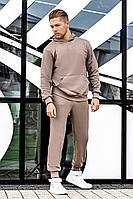 Мужской осенний трикотажный бежевый спортивный большого размера спортивный костюм GO M3000/04-03 44р.