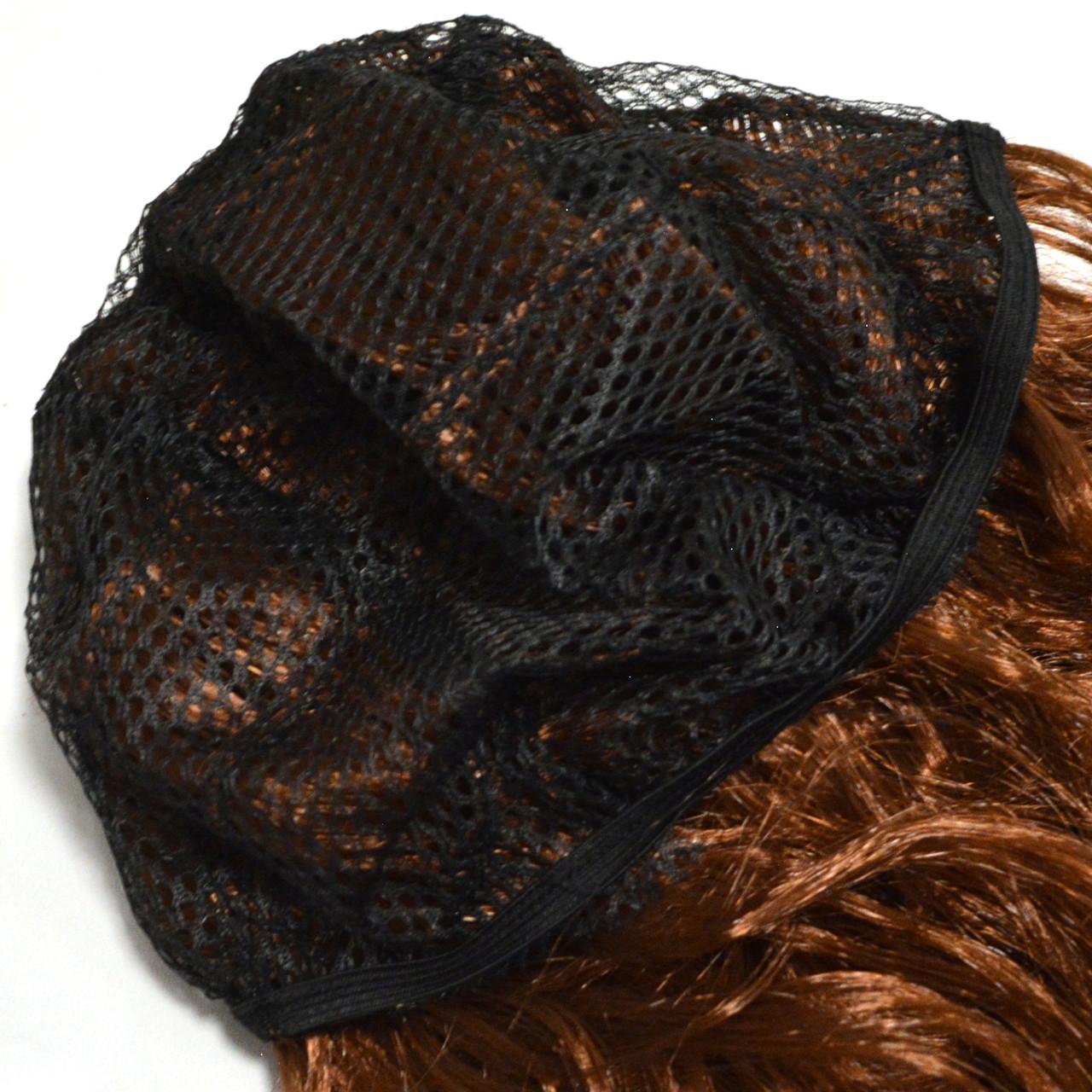 Парик искусственный с челкой длинный с легкими локонами 60 см коричневый - фото 4