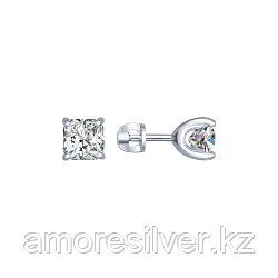 Серьги SOKOLOV серебро с родием, фианит swarovski  89020029