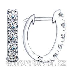 Серьги SOKOLOV серебро с родием, фианит swarovski , дорожка 89020051