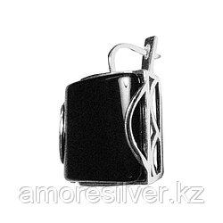 Серьги Невский серебро с родием, агат черный, с английским замком, квадрат 43212Р