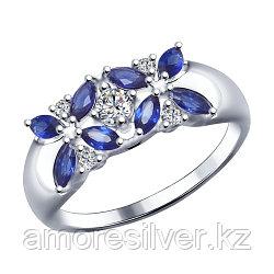Кольцо SOKOLOV серебро с родием, фианит  корунд синт., флора 88010032 размеры - 18 18,5