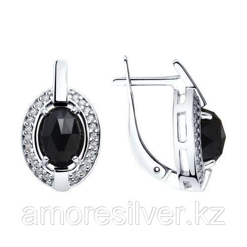 Серьги SOKOLOV серебро с родием, агат фианит , овал 92022060