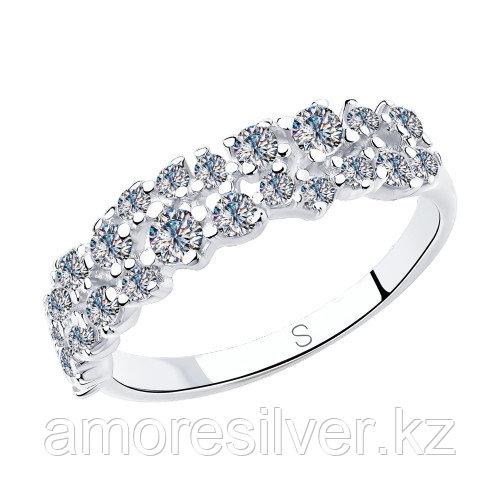 Кольцо SOKOLOV серебро с родием, фианит , дорожка 94012971 размеры - 16,5 17 17,5 18 19