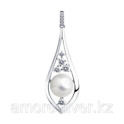 Подвеска SOKOLOV серебро с родием, фианит  жемчуг синт., флора 94032352
