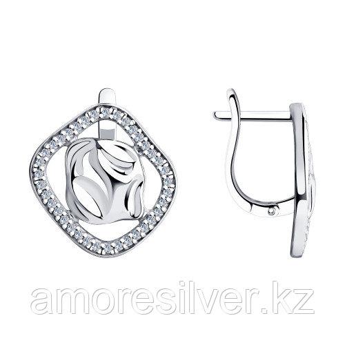 Серьги SOKOLOV серебро с родием, фианит , геометрия 94023801