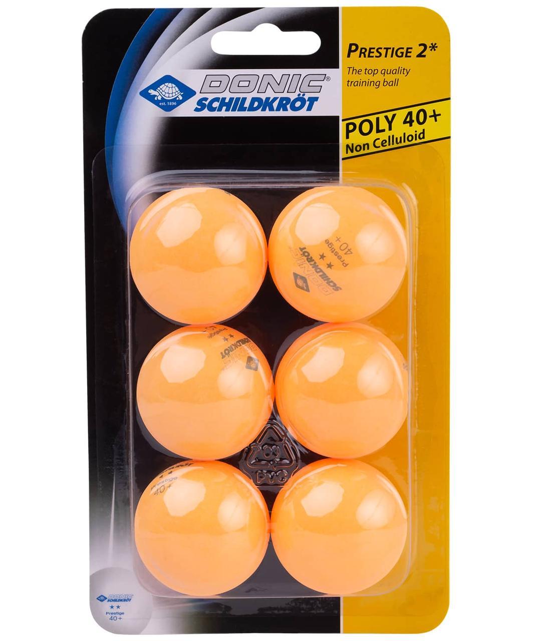 Мяч для настольного тенниса 2* Prestige, оранжевый, 6 шт. Donic