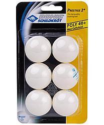Мяч для настольного тенниса 2* Prestige, 6 шт. Donic белый