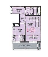 1 комнатная квартира ЖК Аскер 37,82 м2