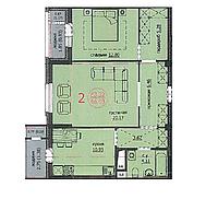 2 комнатная квартира 66,03 м2 ЖК Аскер