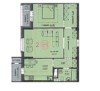 2 комнатная квартира 66,03м2 ЖК Аскер