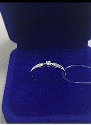 Кольцо с бриллиантом / белое золото - 17 размер